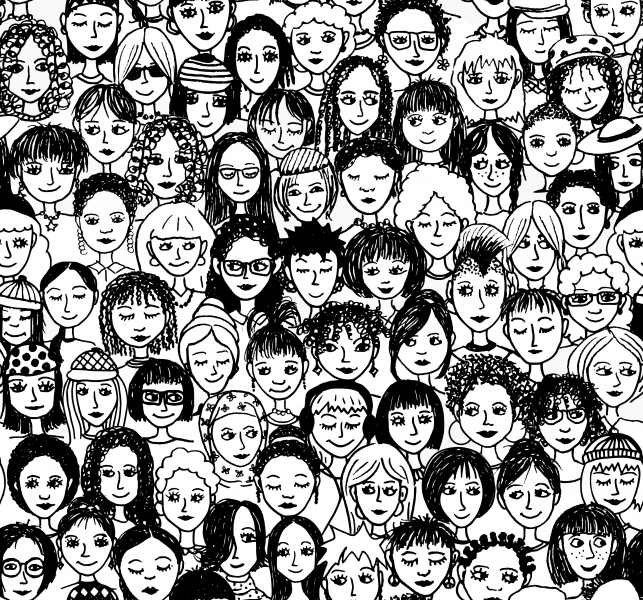 Image of many sketched female faces.