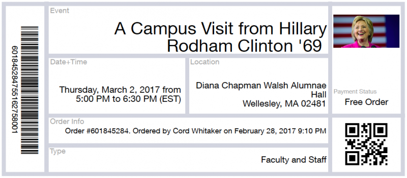 Electronic ticket for Hillary Clinton event at Wellesley College in March
