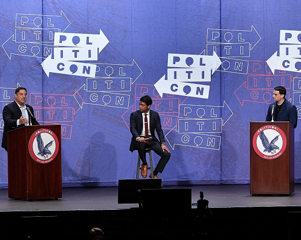Cenk Uygur, Steven Olikara, and Ben Shapiro at the 'Cenk Uygur vs. Ben Shapiro' panel during Politicon .
