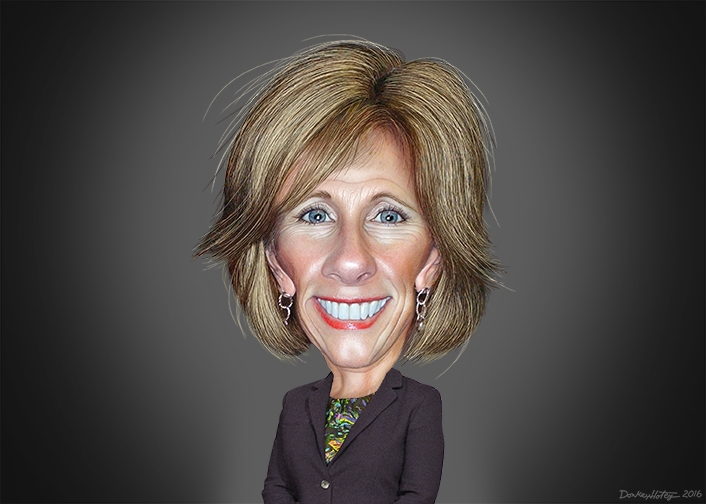Caricature of Betsy DeVos