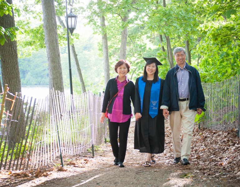 Keung and parents at Wellesley for graduation