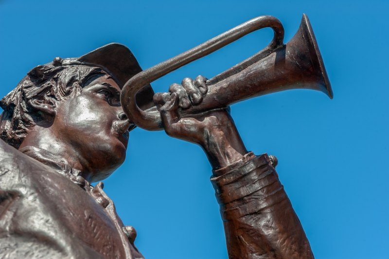Confederate Soldier Statue Blowing a Bugle