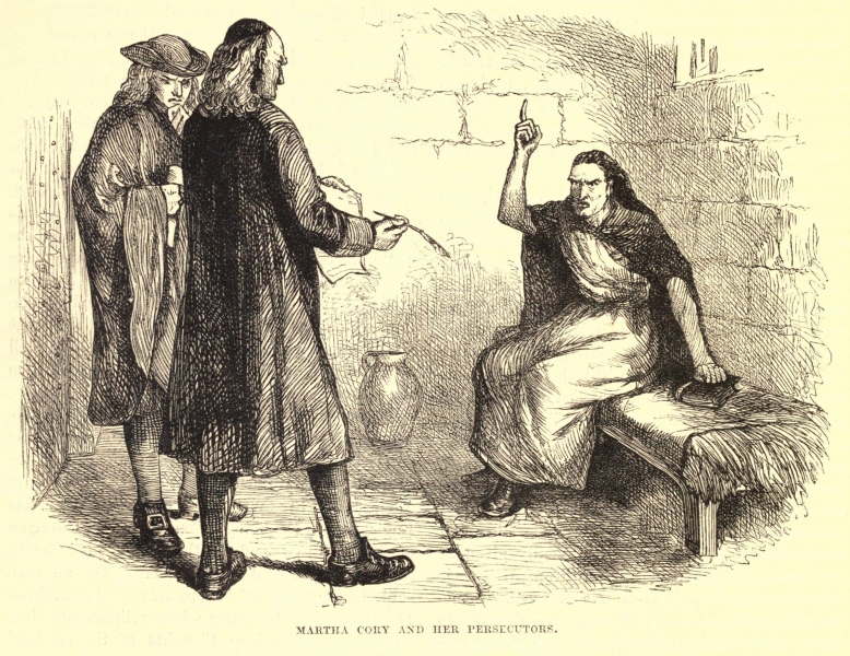 Accused witch being interrogated in cell in Puritan Salem.