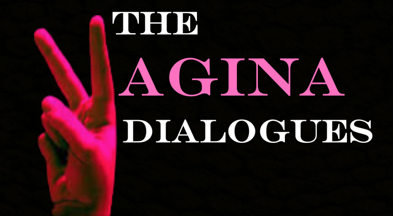 Peace sign hand and words: The Vagina Dialogues