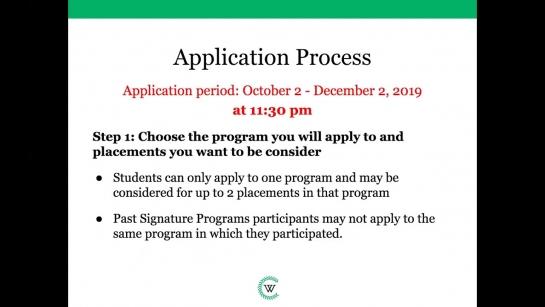 Signature Internship Programs Webinar Q&A (November 2019)