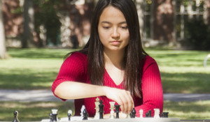 Anya Corke at her chessboard