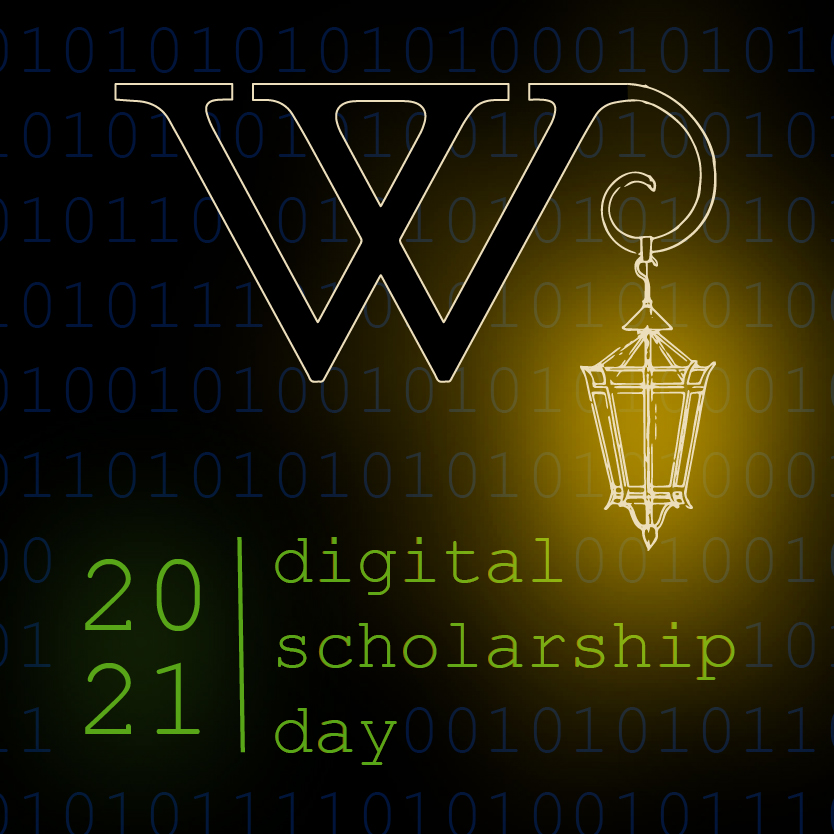 Digital Scholarship Day 2021 logo with Wellesley lamp post.