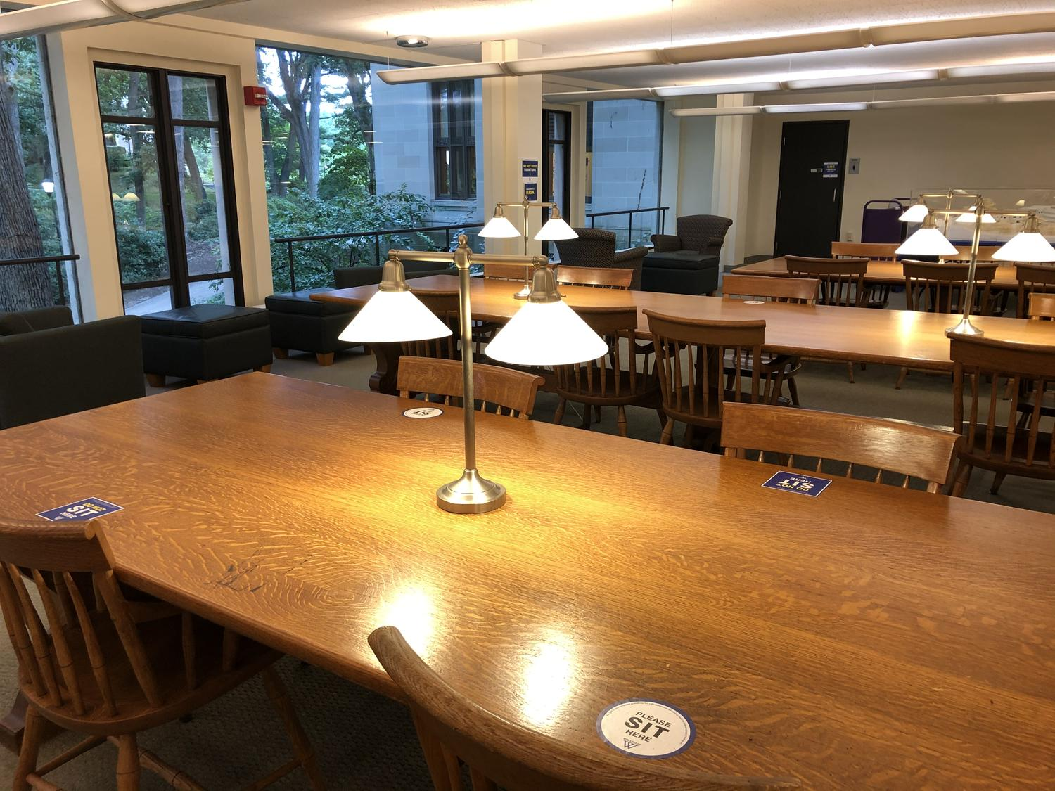 Clark Reading Room Tables Marked for Physical Distancing