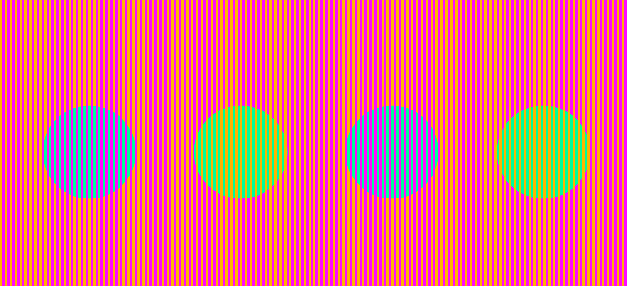 Circles on color field that appears to be different colors but is actually the same.