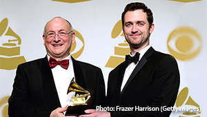 Conductor Stephen Stubbs and singer Aaron Sheehan, winners of the Best Opera Recording GRAMMY