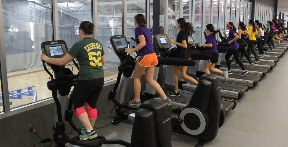 students exercising in the new fitness center