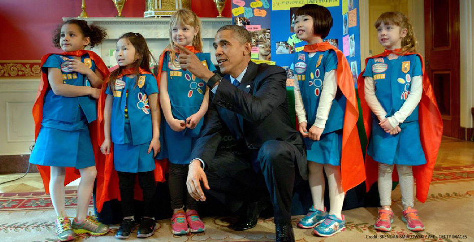 President Obama with girls at the 2015 White House Science Fair
