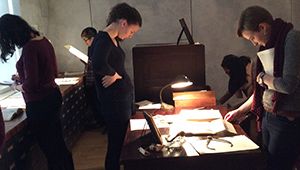 Students visited a replica of a 1920's-era North Carolina eugenics office during an interdisciplinary spring seminar class.