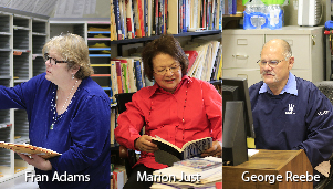 Frances Adams, Marion Just, George Reebe, some of Wellesley's longest serving employees