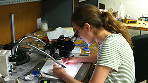 Photo of Carina Belvin '16 studying physics
