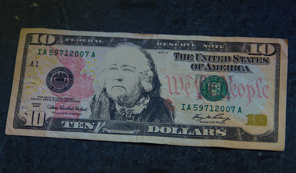A $10 with the face of Education Reformer Elizabeth Peabody superimposed
