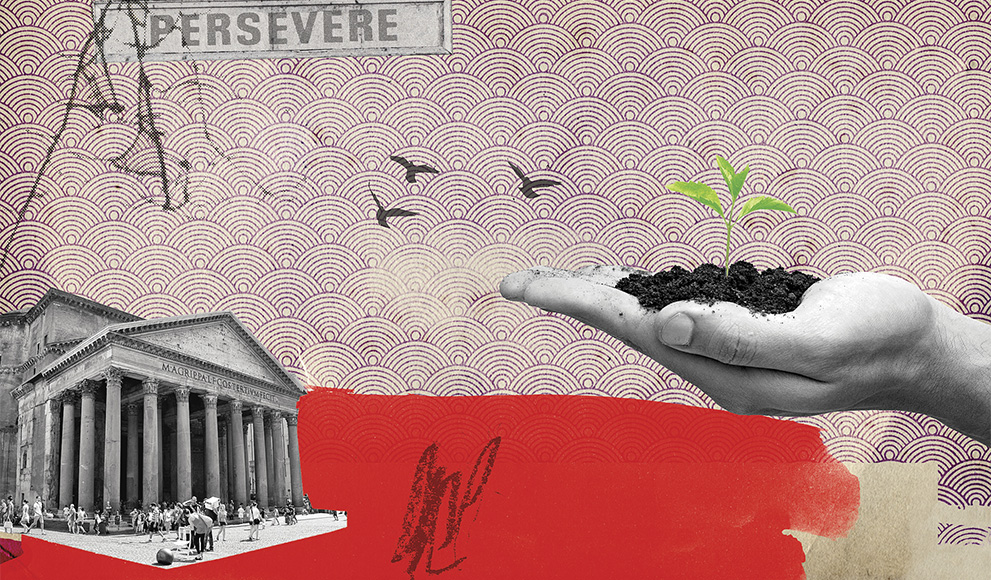 """""""Persevere,"""" an illustration by Michelle Thompson, appears in the summer issue of Wellesley magazine."""