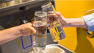 Reusable water bottles filled at new Wellesley Science Center hydration stations