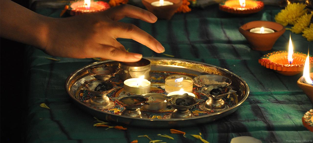 Candles lit in celebration of Diwali