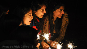 Wellesley students light sparklers to celebrate Diwali (photo: Adele Clifford '16)