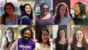 Photos of Ten Wellesley women who have won Fulbright awards this year.