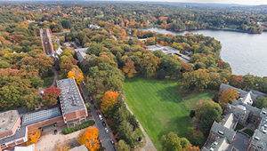An aerial shot of the Wellesley College campus in the fall