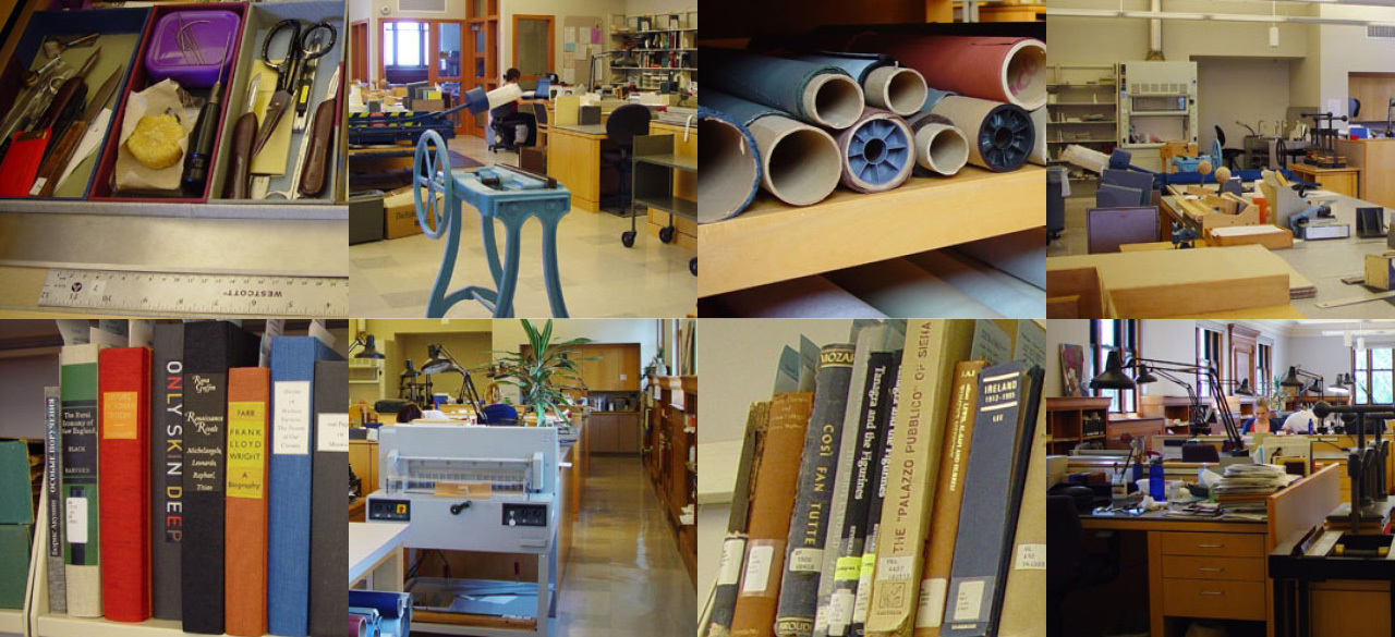 a collection of book repair images from Wellesley's Conservation Facility