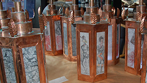 Copper lanterns designed for an August 14 Liberty Tree Celebration