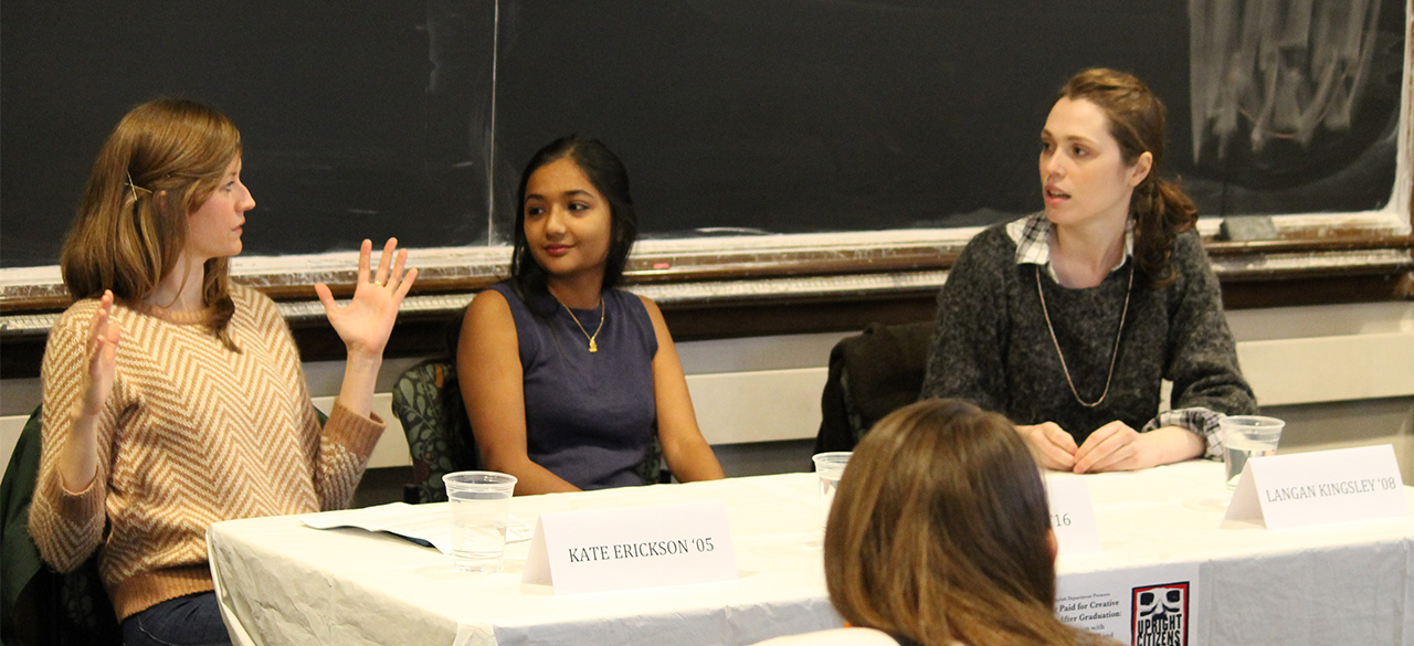 Kate Erickson '05, Langan Kingsley '08 and Broti Gupta '16 engage in a panel discussion about creative writing