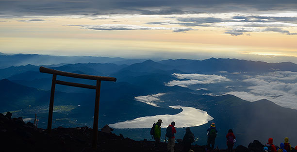 hikers on Mt. Fuji