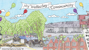 Artwork by Stephanie Hessler '84 depicting Wellesley Alumnae Activities