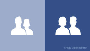 Old and new Facebook icon, the new icon puts woman in front.