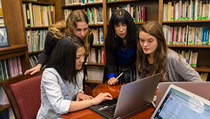 Professor Rosanna Hertz and her student researchers. From left, Jamie Yang '17, Rebecca Schwarz '16, Hertz, and Jackie McGrath '17.