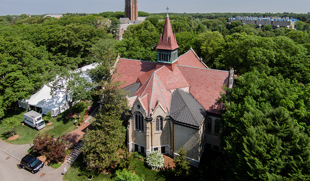 Aerial image of Wellesley's Houghton Chapel