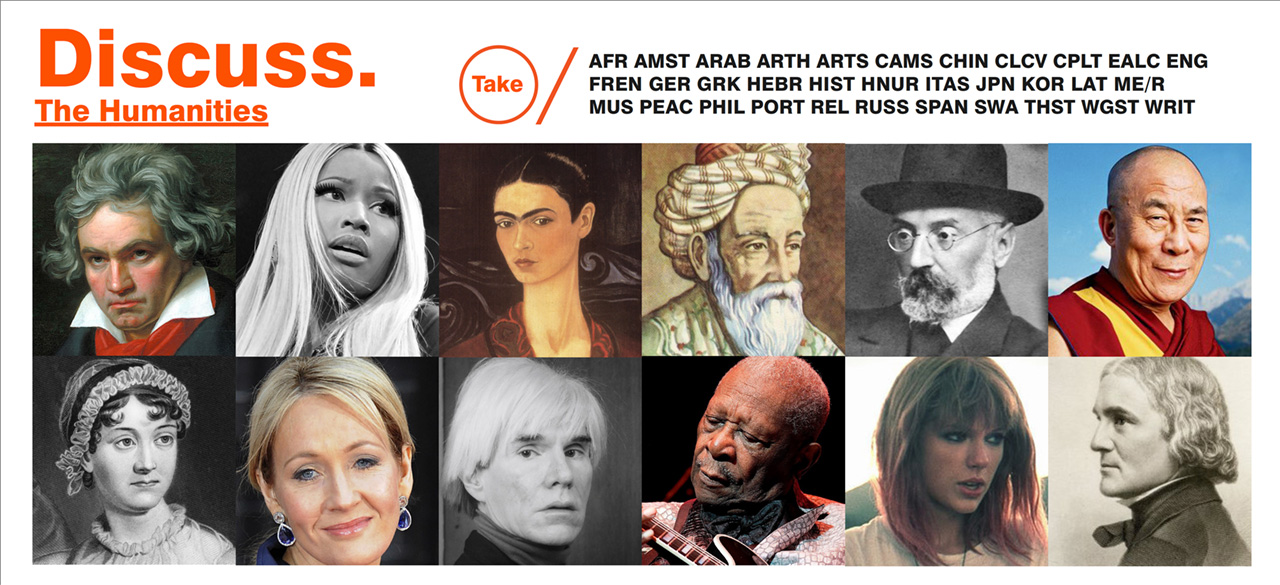 "Collage of pictures of authors, poets, singers and more captioned ""Discuss the Humanities"""