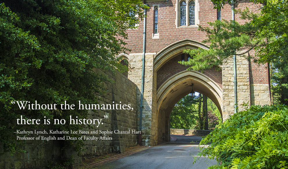 A stone arch on the Wellesley Campus with an overlaid quote by Wellesley Dean and Professor Kathryn Lynch