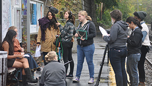 Cinema and Media Studies students work together on a film.
