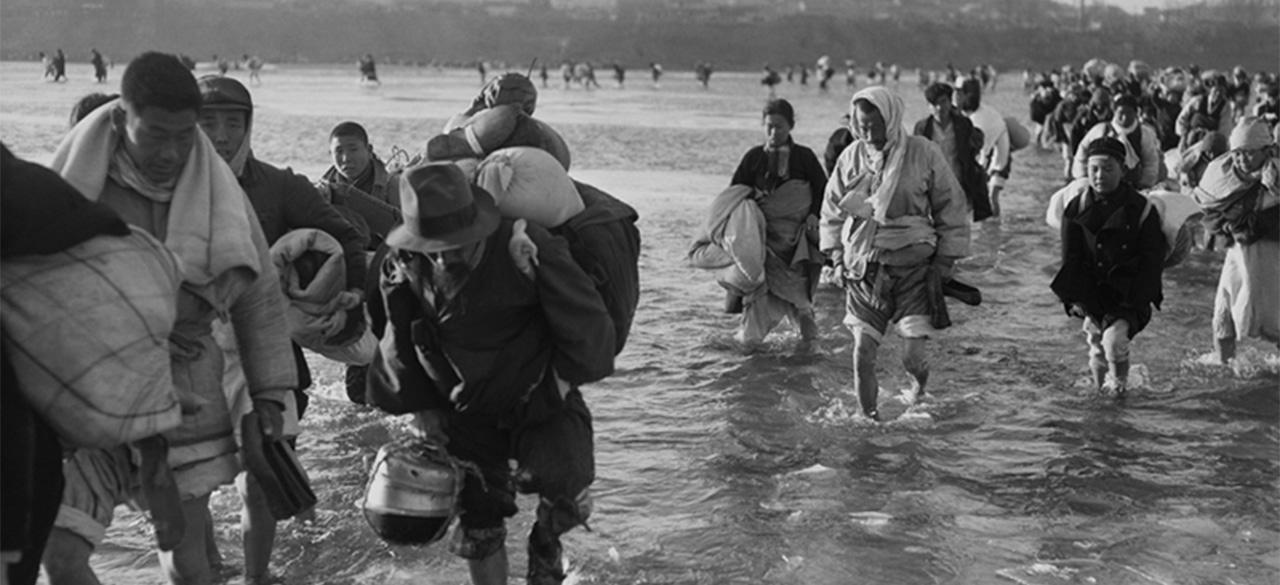 Historical Photo of Korean War Refugees