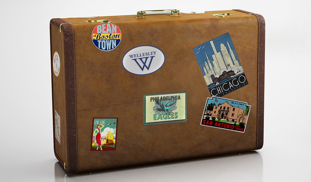 Old leather suitcase with destination stickers