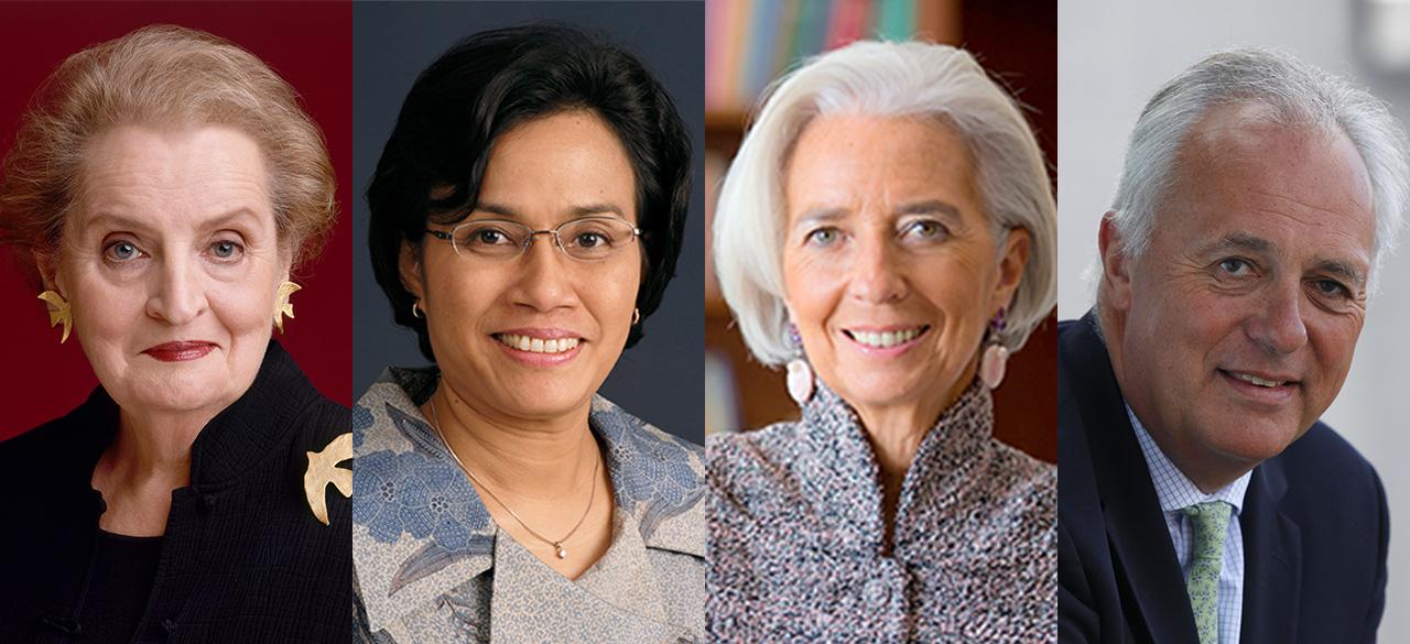 Four panel photo includes Madeleine Albright '59, Sri Mulyani Indrawati,  Christine Lagarde and Mark Malloch-Brown