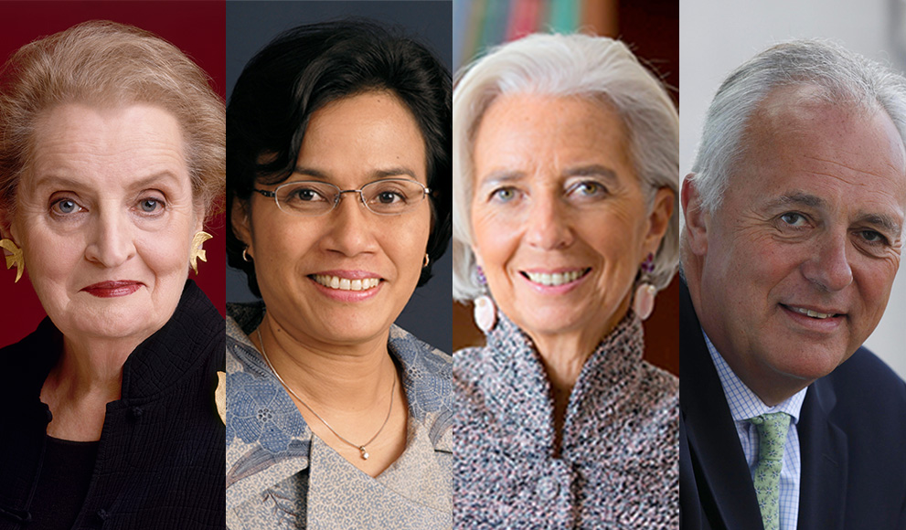 Four panel photo includes Madeleine Albright '59, Sri Mulyani Indrawati,  Christine Lagarde and Mark Malloch-Brown