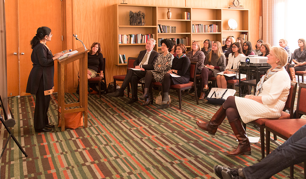Faculty and staff gather to listen to remarks at the signing a partnership agreement between Wellesley College and Ashoka University