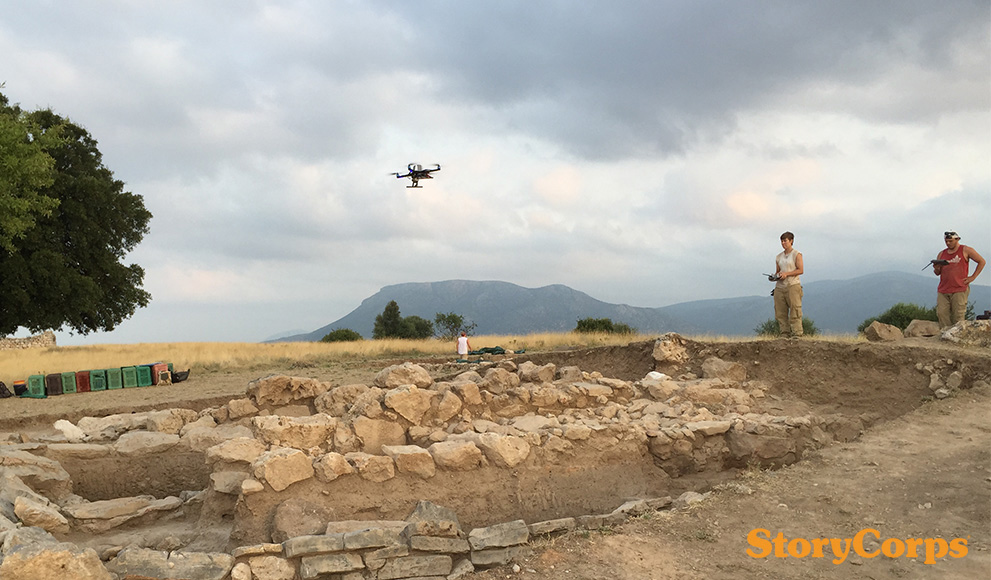 Professor Bryan Burns and Kaylie Cox '18 fly a drone in Greece