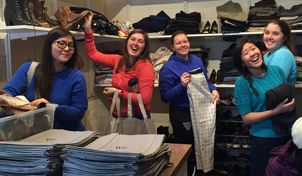 Students in the newly renovated Wellesley Student Aid Society Clothes Closet