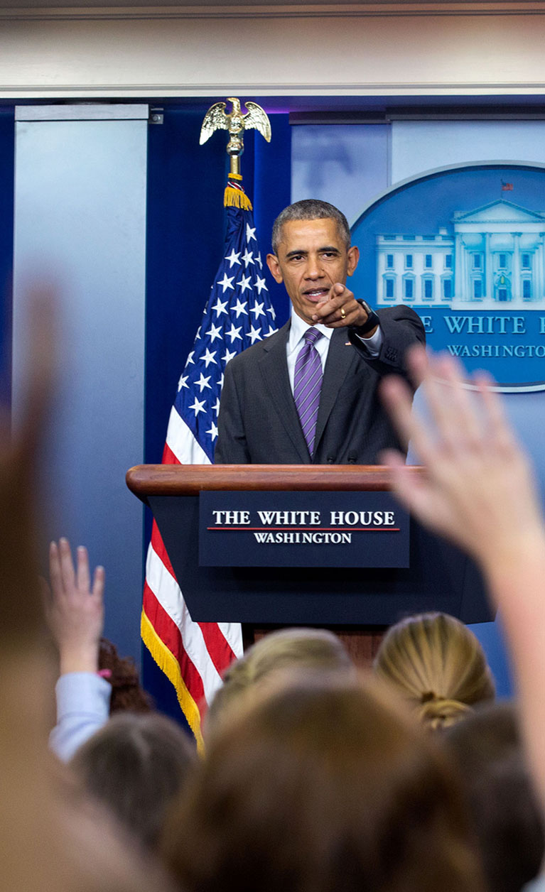 Student writers ask questions of President Obama at the first ever White House College Reporter Day