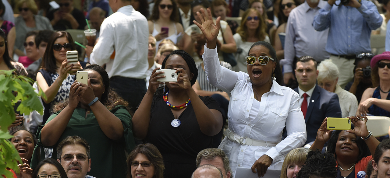 Photo of Oprah Winfrey, a guest at Wellesley's 2016 Commencement
