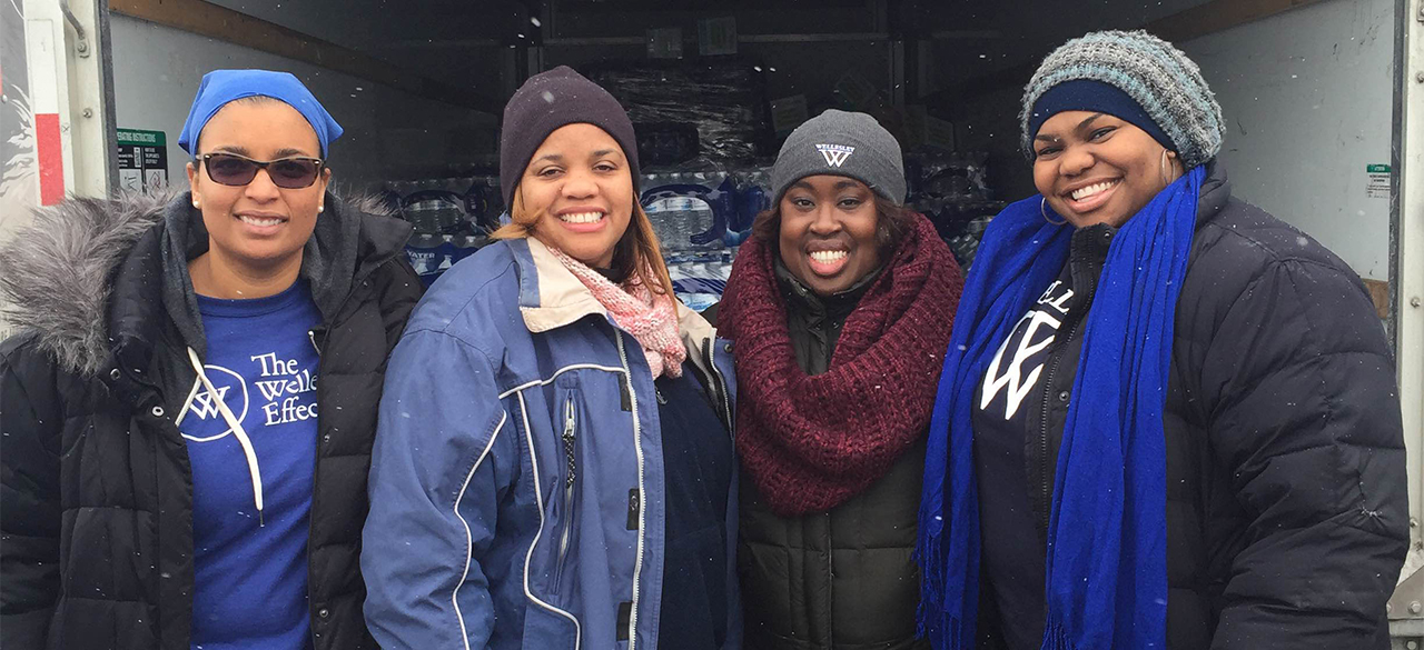 "Marseille ""Mars"" Allen '01, Jamilah Freeman '02, Dana Weekes '03, and Hollee Mangrum-Willis '04 in Flint, Michigan."