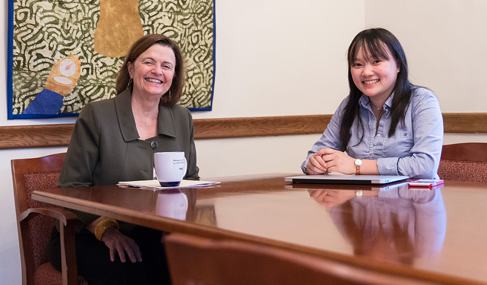 Genevieve Huang interviews Kim for the Wellesley News, 2016