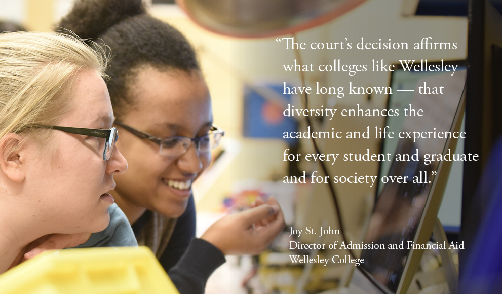 Photo of two students, a quote from Wellesley Dean of Admissions Joy St.  John