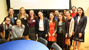 Athlete Students and Alumnae at a recent networking dinner